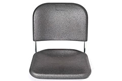 A grey ARPRO seat, with no legs that is designed for stadiums. The back of the seat is fixed to the bottom with two metal poles