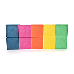 Five rectangular boxes moulded from ARPRO (expanded polypropylene) colours - Blueberry, Dragon Fruit, Orange, Lemon and Lime