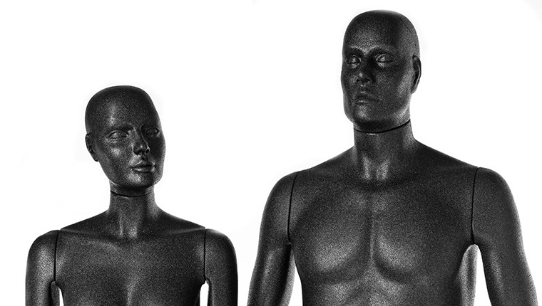 Male and female mannequin made from ARPRO (expanded polypropylene) standing for a family picture
