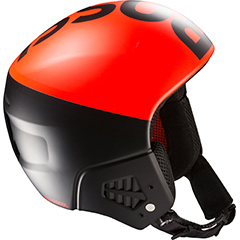 A orange and black ski helmet made by Rossignol using ARPRO (expanded polypropylene) for impact protection