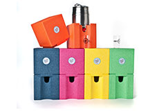 Beer coolers made from ARPRO (expanded polypropylene) in Blueberry, Dragon Fruit, Orange, Lemon and Lime for Cooling Cubes