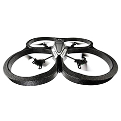 A black Parrot AR drone made from ARPRO (expanded polypropylene) flying
