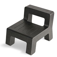 Small chair for children made from black ARPRO (expanded polypropylene)
