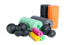 Selection of polypropylene coloured sports rollers and massage balls