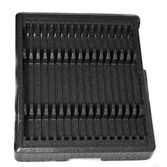 A black rectangular ARPRO (expanded polypropylene) dunnage part with raised triangular segments a third in from each end creating multiple rows