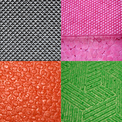 Grey ARPRO (expanded polypropylene) with a indented diamond surface, Dragon Fruit ARPRO with a bumpy dotted surface, Orange ARPRO with a cell structure surface and Lime ARPRO with a multi directional line surface.