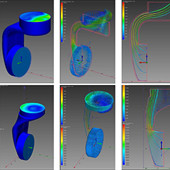Six computer graphic images starting with blue vertical device with two small cylindrical objects at each end. The second column of pictures the images are slightly translucent. The third column both pictures have airwaves lines going through. Each picture has a coloured temperature gauge to the left of the picture.