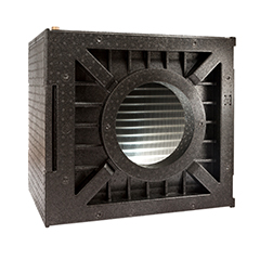 Black ARPRO (expanded polypropylene) heat exchanger for a HVAC system