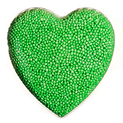 Lime green ARPRO (expanded polypropylene) in a heart shape clear mould
