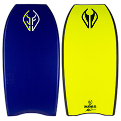 Blue and yellow NMD Jase Finlay body board made from ARPRO (expanded polypropylene)
