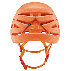 An orange climbing helmet made from ARPRO (expanded polypropylene)
