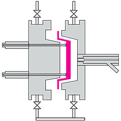 Two dimensional diagram of a grey mould with a magenta moulded ARPRO part being ejected